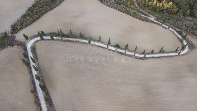 空中自然风景美丽的小山 图库摄影