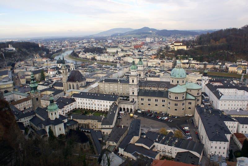 空中萨尔茨堡视图 库存照片