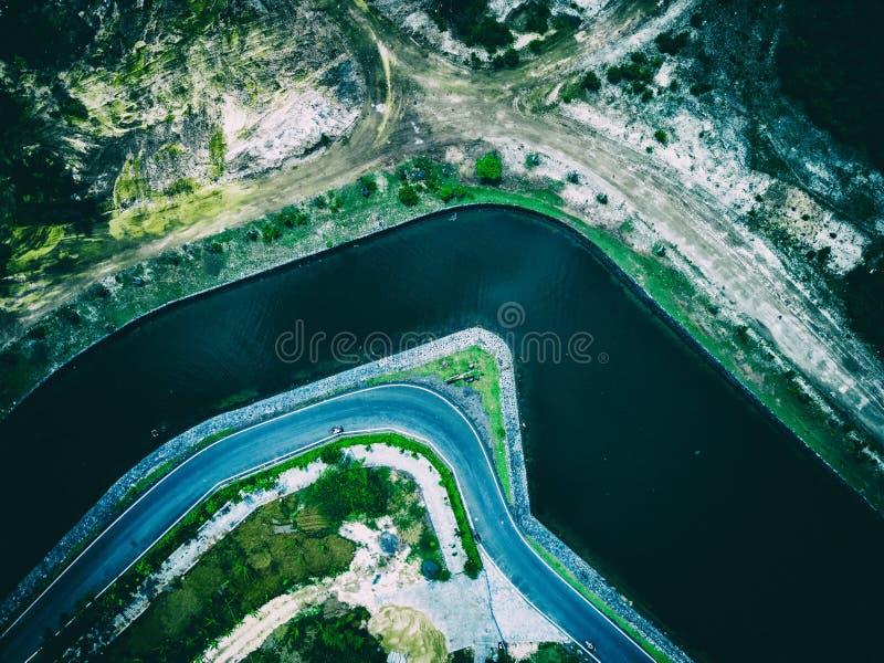 空中被射击的河都市风景serangan海岛巴厘岛 库存照片