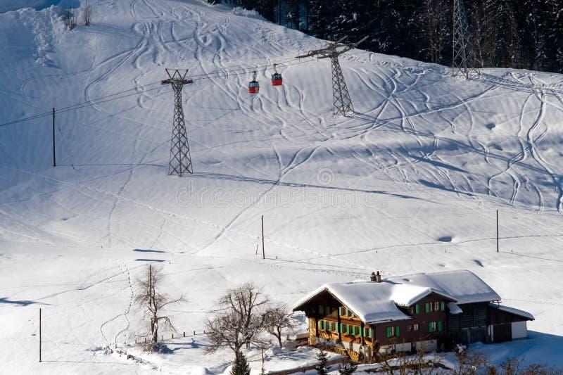 空中览绳和旅馆鸟瞰图瑞士滑雪胜地的  免版税图库摄影