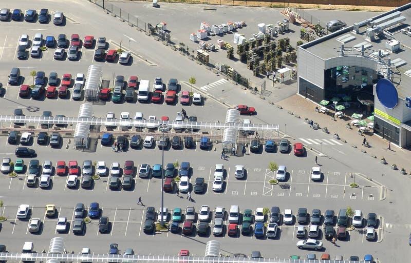 空中超级市场视图 免版税图库摄影