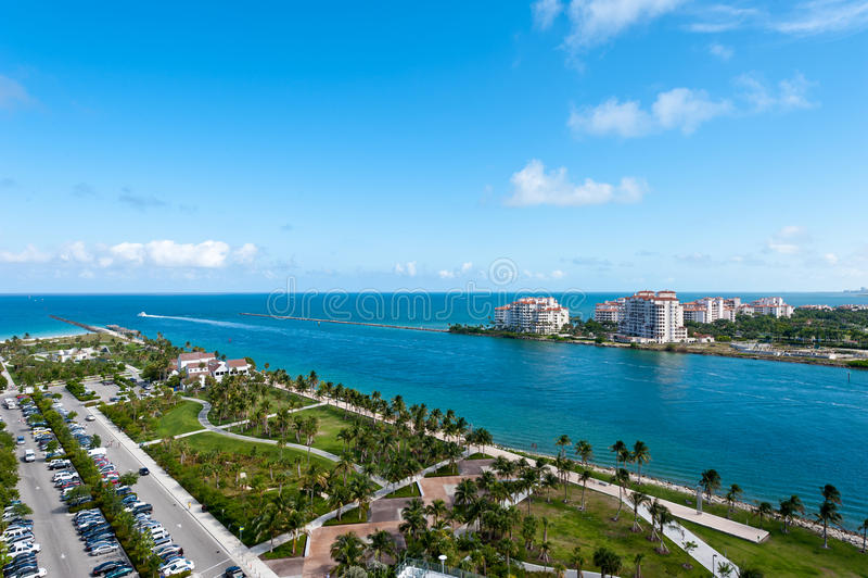 空中迈阿密公园pointe南视图 免版税图库摄影