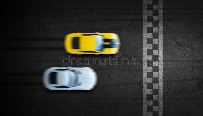 空中顶视图两汽车在去终点线的赛马跑道作战 免版税库存照片