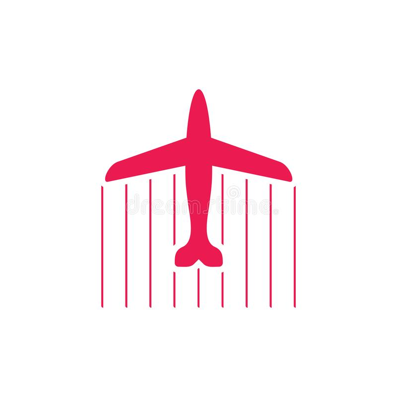 空中飞机喷气机飞行swoosh标志装饰传染媒介 库存例证
