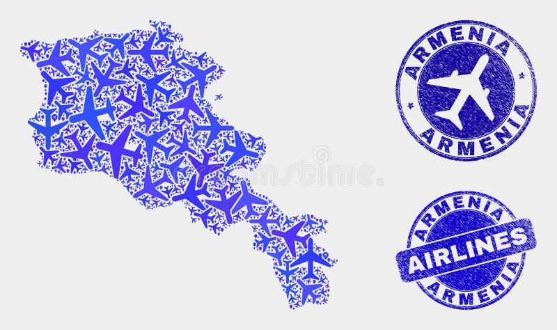 空中飞机构成传染媒介亚美尼亚地图和难看的东西封印 皇族释放例证