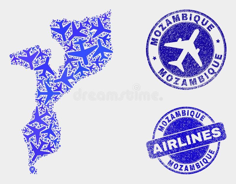 空中飞机构成传染媒介莫桑比克地图和难看的东西邮票 向量例证