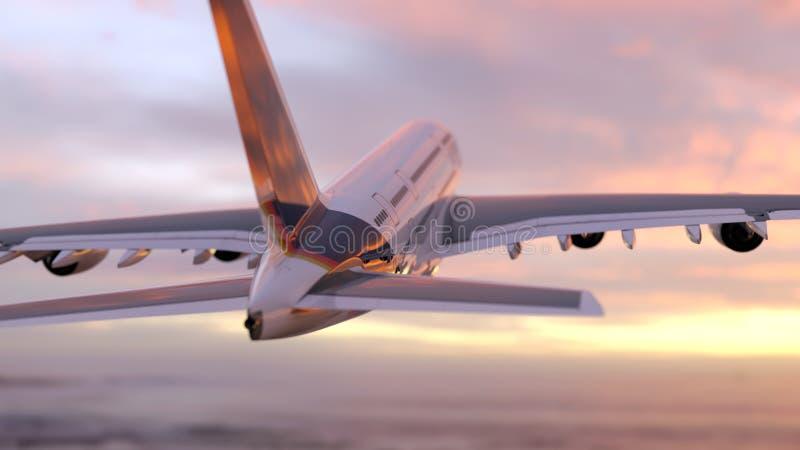空中飞机飞行入天空 向量例证