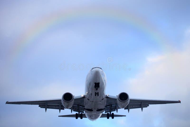 空中飞机离开 免版税库存照片