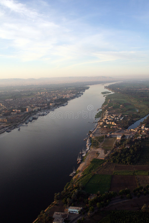 空中高的尼罗河视图 免版税库存照片