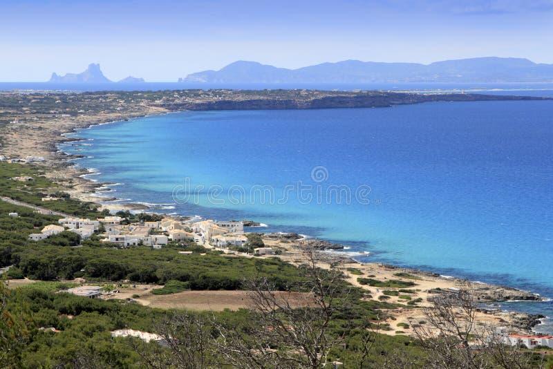 空中formentera展望期ibiza海岛视图 库存照片