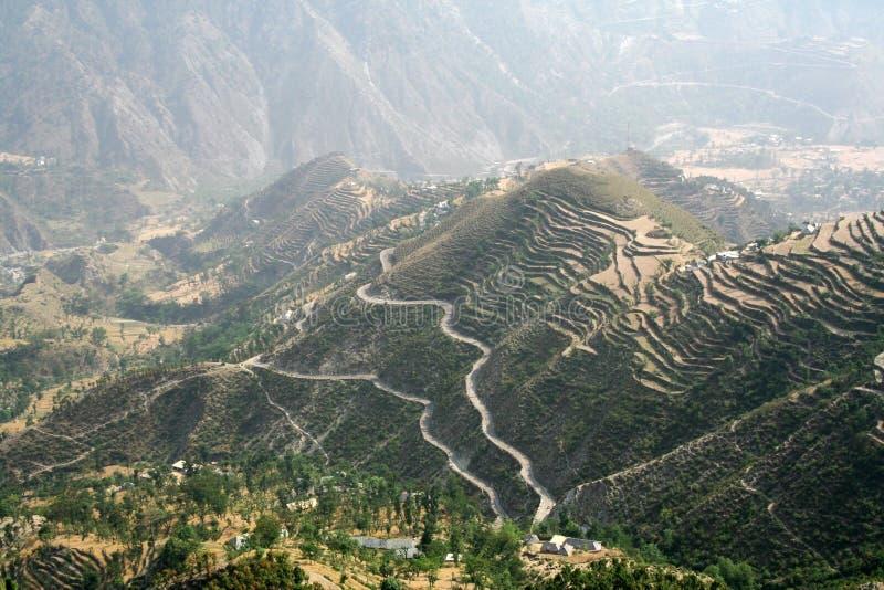 空中himachal印度地区遥控视图 免版税库存图片