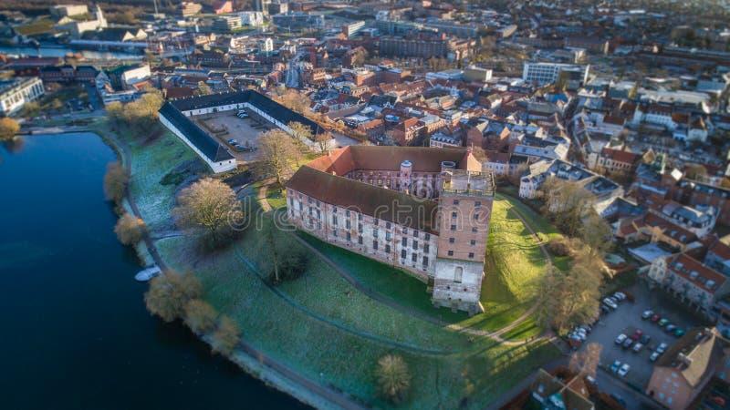 空中Koldinghus一座老城堡在科灵丹麦 免版税库存照片
