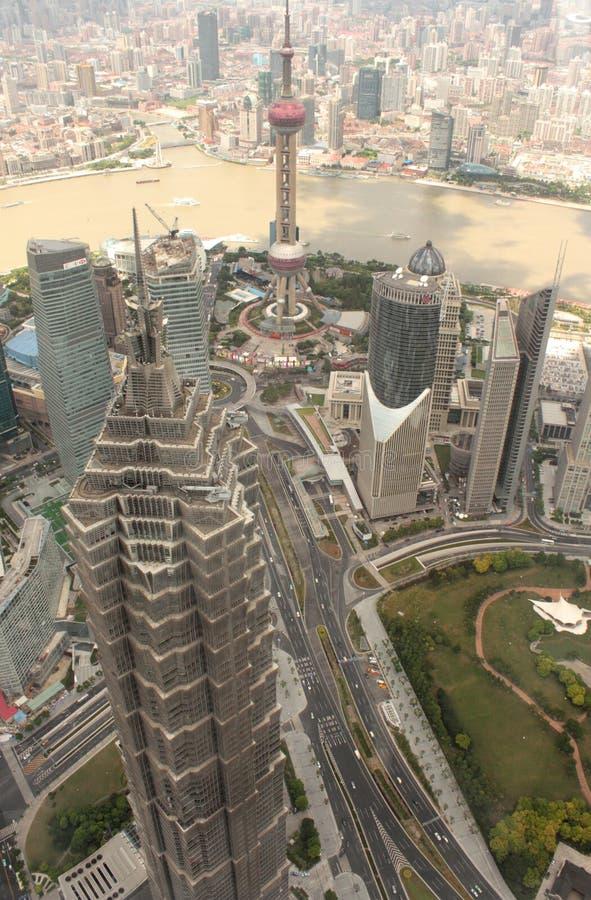 空中pudong上海视图 免版税库存图片