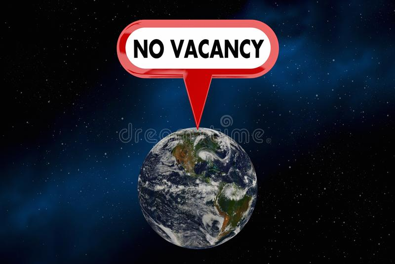 空位地球行星没有过度拥挤人口标志3d例证 皇族释放例证