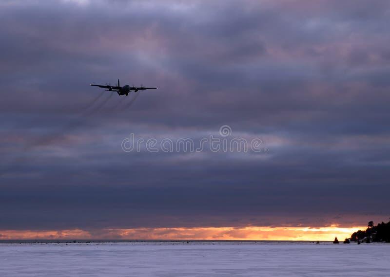 空军平面日落 库存照片