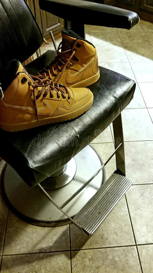 空军队理发椅 库存照片
