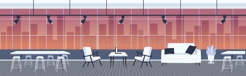 空创造性的办公室与家具现代共同工作的中心内部全景窗口都市风景的没有人露天场所 库存例证