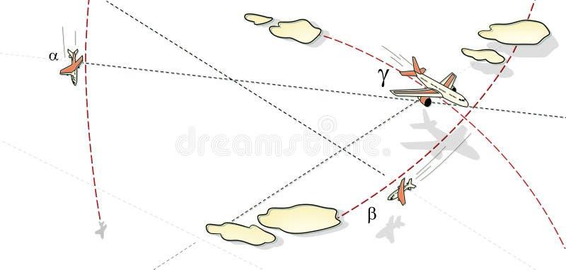 空战 三架飞机在飞行中,在一个峰顶和在路线的云彩和线的中一个弯 上升和秋天 反对 向量例证