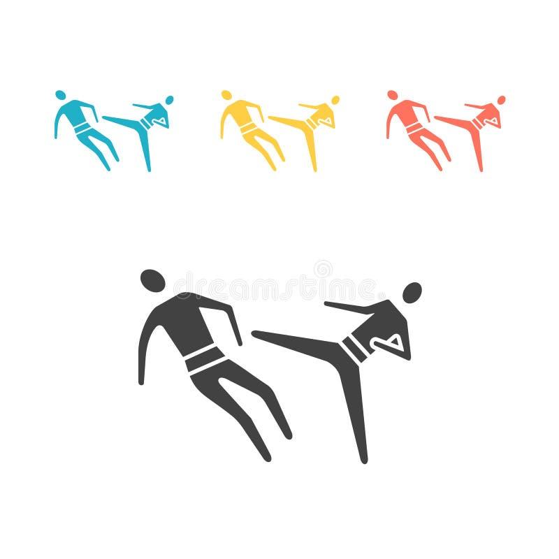 空手道打击和防御平的象传染媒介标志 皇族释放例证