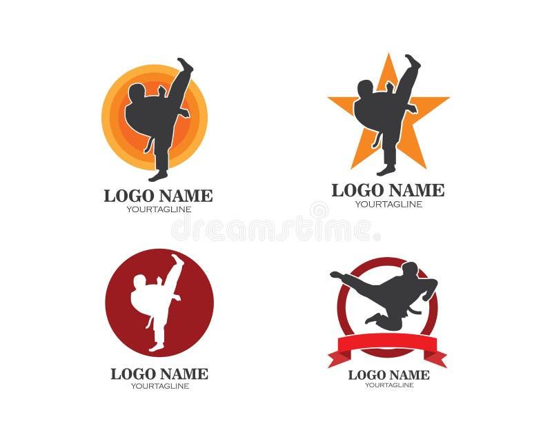空手道,跆拳道反撞力商标传染媒介例证模板 皇族释放例证