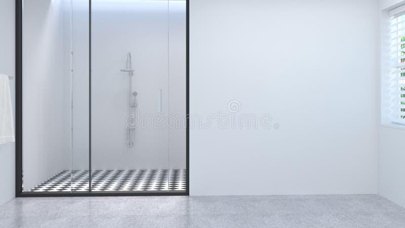 空格干净的白色空的卫生间内部,洗手间,阵雨,现代家庭设计背景白色瓦片卫生间3d翻译 免版税库存照片