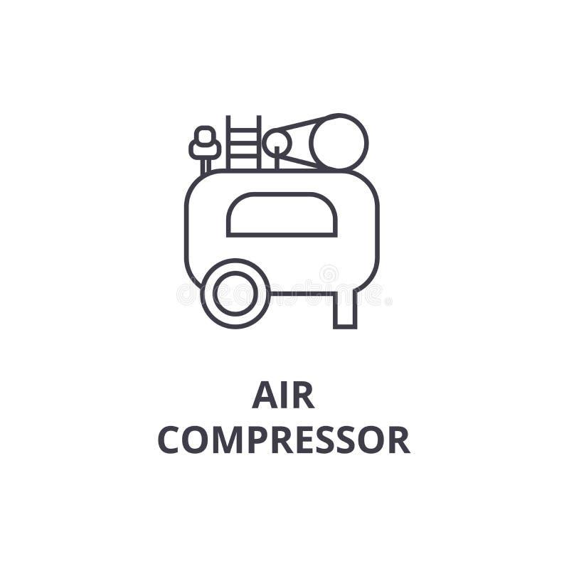 空气压缩机传染媒介线象,标志,在背景,编辑可能的冲程的例证 皇族释放例证