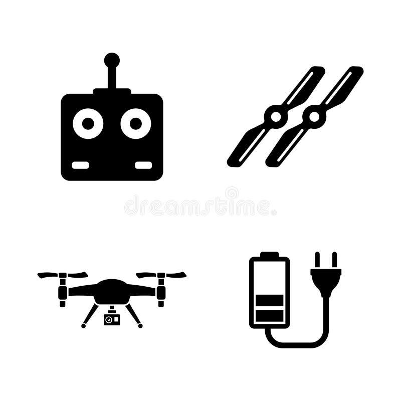 空气寄生虫,Quadrocopter 简单的相关传染媒介象 向量例证