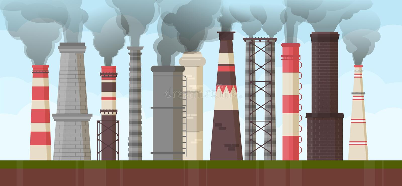 空气工业污染环境问题抽烟囱产业例证 全球性管子毒性肮脏的烟雾 ?? 皇族释放例证