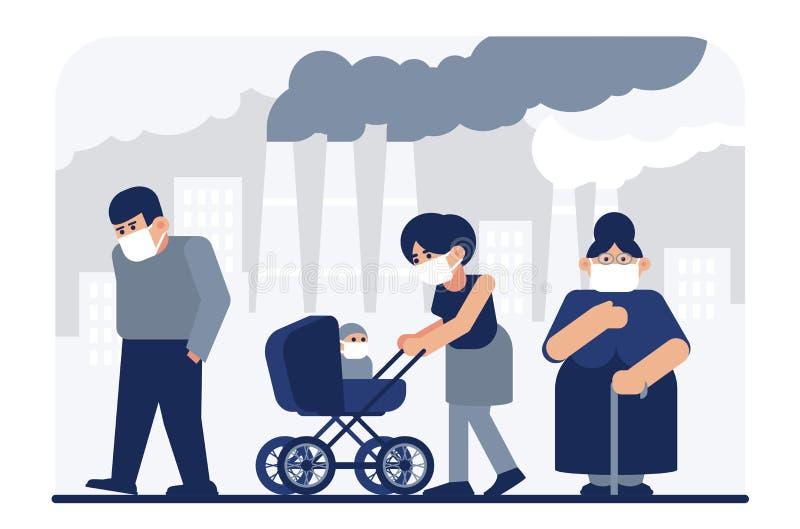 空气污染哀伤的人民平的传染媒介例证 向量例证