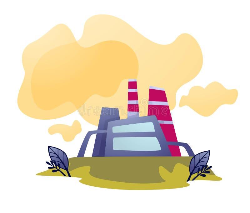 空气污染植物或工厂放射和污秽生态 库存例证