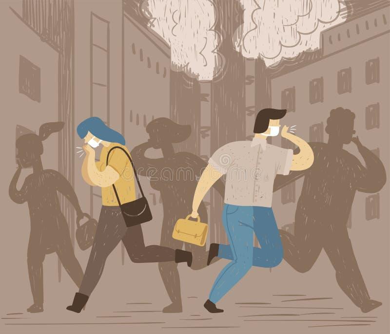 空气污染概念性海报  人们在城市呼吸肮脏的空气和咳嗽 坏生态 向量例证
