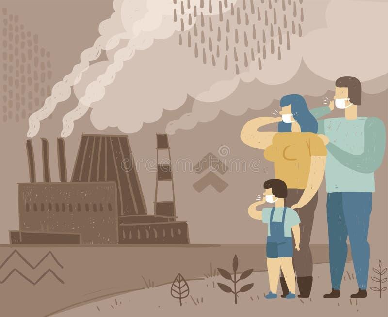 空气污染概念性海报  家庭呼吸从一家抽烟的工厂的肮脏的空气 库存例证