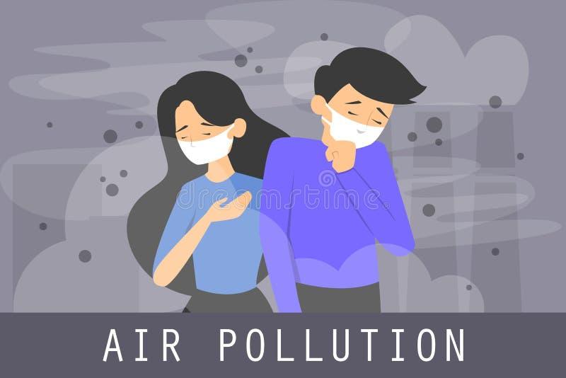 空气污染概念横幅 烟雾在城市 库存例证