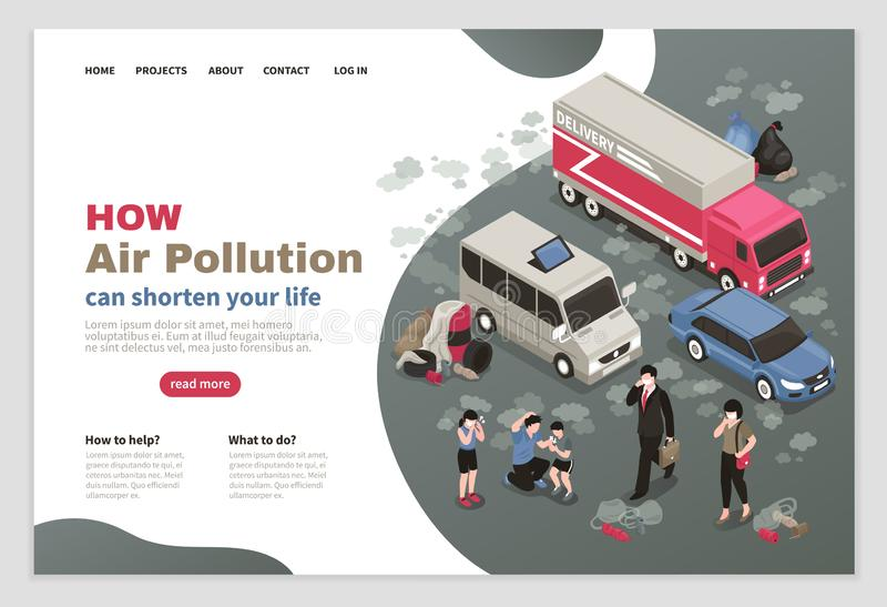 空气污染页设计 库存例证