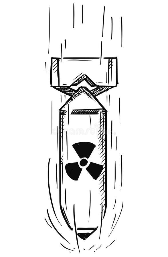 空气炸弹动画片传染媒介与核原子标志标志的 向量例证