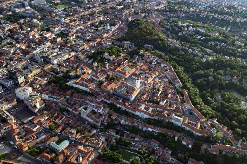 从空气的萨格勒布上部镇 免版税图库摄影