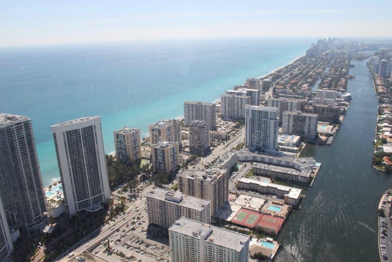 从空气的迈阿密海滩 免版税库存图片