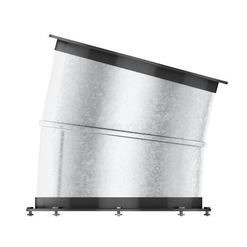 空气管道弯在白色背景的15度 3d烈 库存例证