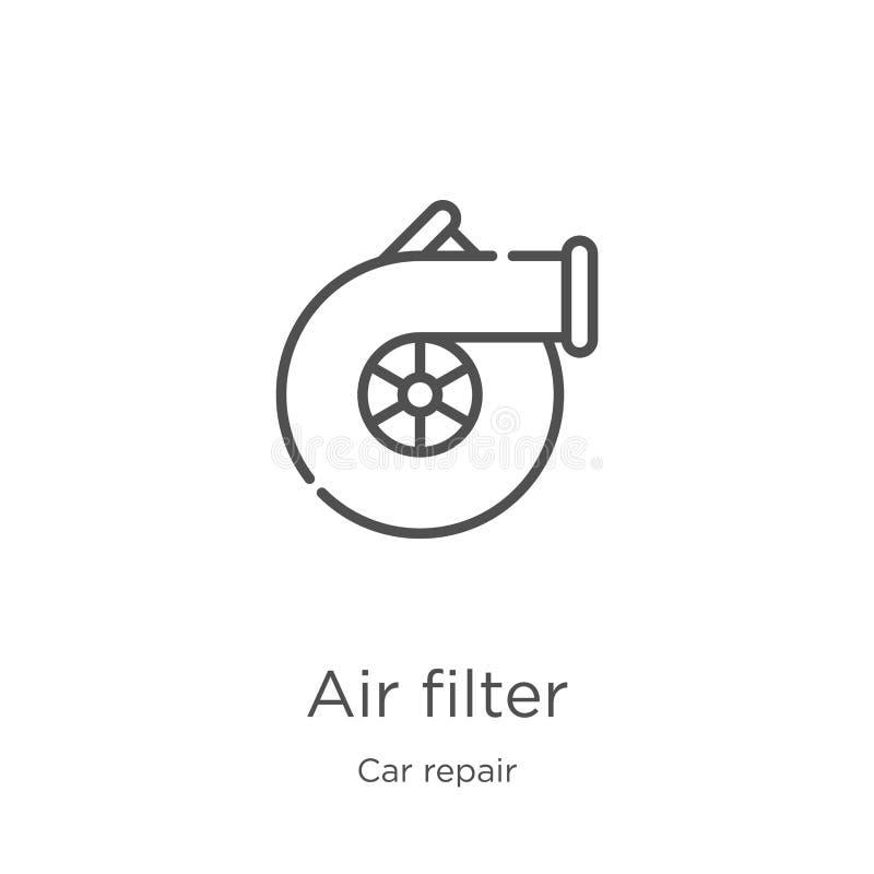 空气过滤器从汽车修理汇集的象传染媒介 稀薄的线空气过滤器概述象传染媒介例证 概述,稀薄的线空气 皇族释放例证