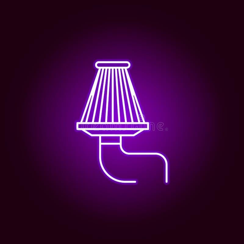 空气过滤器在霓虹样式的概述象 汽车在霓虹样式象的修理例证的元素 标志和标志可以使用为 库存例证