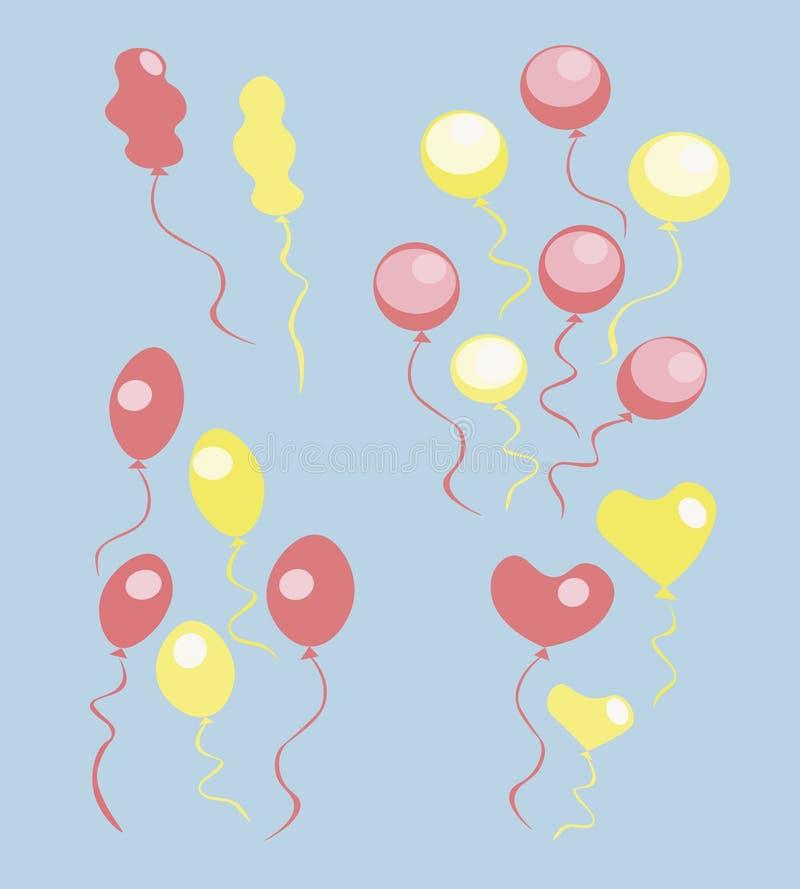 空气黄色和红色球 免版税库存照片