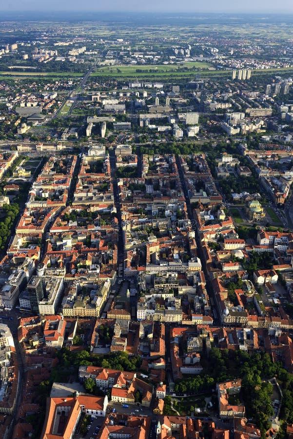 从空气,克罗地亚的萨格勒布 免版税图库摄影