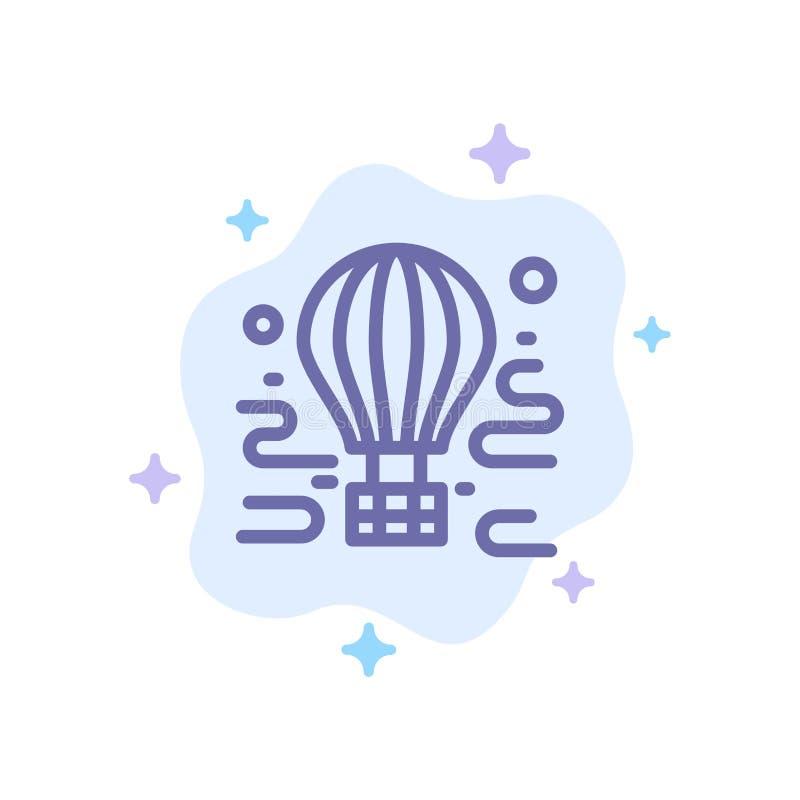 空气,空投,游览,旅行,在抽象云彩背景的气球蓝色象 向量例证