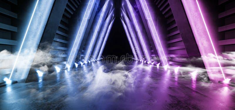 空烟未来摘要霓虹焕发减速火箭的紫色蓝色现代科学幻想小说未来派激光阶段外籍人太空飞船黑暗的走廊的隧道 库存例证
