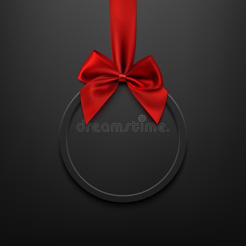 空白、黑色圆的横幅与红色丝带和弓 库存例证