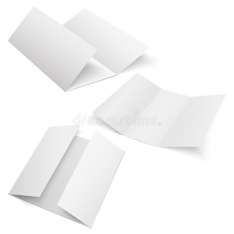 空白三被折叠的折叠纸传单,飞行物,宽幅纸张 也corel凹道例证向量 皇族释放例证