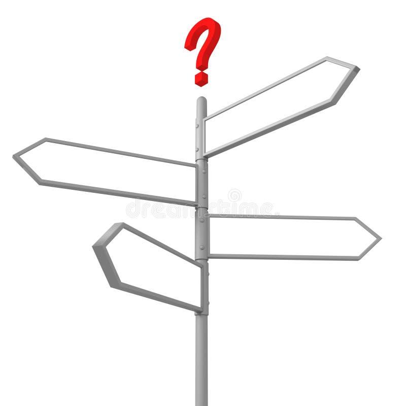 空白交叉路方向对路标表示怀疑 向量例证