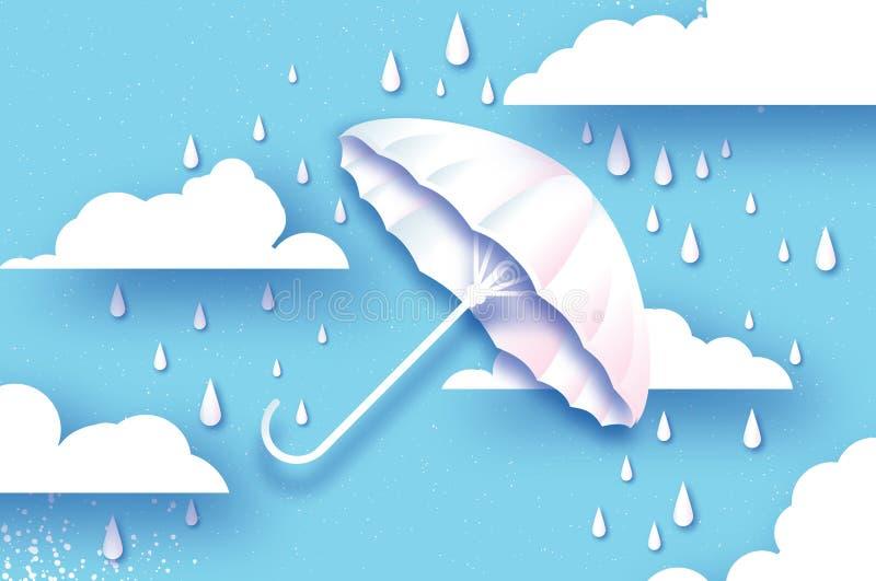 空白伞 与下雨的空气 Origami雨下落 多雨天气 保护和安全 在蓝色的遮阳伞 多云天空 向量例证