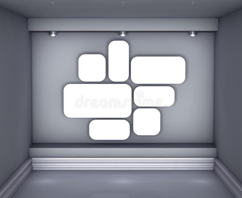 空白内部适当位置生动描述聚光灯 库存例证