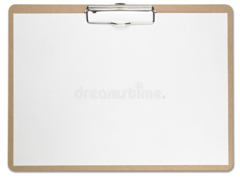 空白剪贴板水平的纸白色 图库摄影